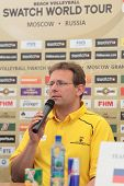 MOSCOW, RUSSIA - JUNE 6: FIVB technical supervisor Dirk Decher during a press conference of opening