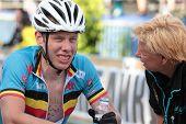 Moskau, Russland, 9. Juni: Bart de Vocht (Belgien) nach Abschluss des Europäischen Mountainbike cross co