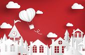 Urban Landscape Of City Village With Hot Air Balloon In Heart Shape. Design For Valentines Day Greet poster