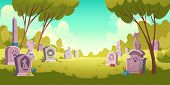 Pet Cemetery Day Landscape, Tombstone With Footprint Inscription And Animal Monument, Cartoon Vector poster
