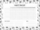 Habit Tracker Blank With Hand Drawn Doodle Texture. Bullet Journal Template. Monthly Planer. Vector  poster