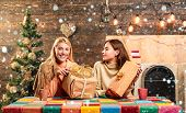 Glamour Celebration. Girl Friends In Christmas At Home. Christmas Party, Happy New Year Friends. Hap poster
