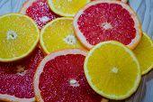 Citruses, Chopped Oranges And Grapefruits, Citruses, Orange, Oranges , Grapefruit, Background , Frui poster