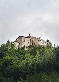Hohenwerfen Castle Is A Medieval Rock Alpine Castle And History Museum Near Salzburg, Austrian Alps, poster