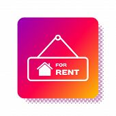 White Hanging Sign With Text For Rent Icon Isolated On White Background. Signboard With Text For Ren poster