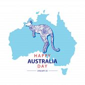 Australia Day With Map Of Australia An Kangaroo. 26 January Happy Australia Day. Greeting Card. poster