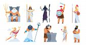 Greek Gods. Cartoon Ancient Mythology Characters, Vector Zeus Ares A Poseidon Gods And Goddess Isola poster