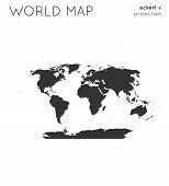 World Map. Globe In Eckert V Projection, Plain Style. Modern Vector Illustration. poster