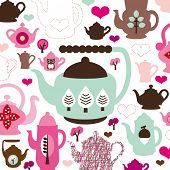 Cute retro tea pot and coffee birthday pattern background in vector