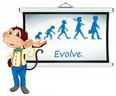 Illustratie van een aap presenteren op een whiteboard