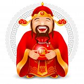 Chinese God Of Wealth With Red Bag With Money. Wish Wealth And Prosperity In The New Year. Translati poster