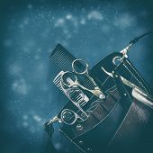Hairdressing Tool Bag With Tools Against Dark Background. Copy Space. Happy New Year And Merry Chris poster