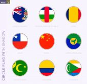 Circle Flag With Shadow, Collection Of Nine Round Flag. Vector Flags Of 9 Countries: Cayman Islands, poster