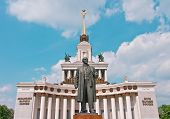 Lenin Monument And Central Pavilion On Vvc In Moscow