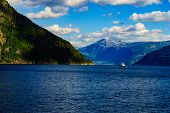 Fjord Landscape With Ferry Boat In Norway, Scandinavia Europe. Tourism Vacation And Cruising. poster