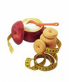 Sugar Bowl Made Of Red Apple With Fructose Inside, Cookies And Measuring Tape