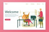 Welcome Header And Businessman Cartoon Character Welcoming And Greeting Partner Or Colleague On Entr poster