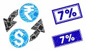 Mosaic Dollar Rupee Exchange Icon And Rectangle 7 Percent Seal Stamps. Flat Vector Dollar Rupee Exch poster