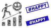Mosaic Happy Man Career Growth Pictogram And Rectangle Hashtag Happy Stamps. Flat Vector Happy Man C poster