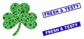 Mosaic Clover Leaf Pictogram And Rectangle Fresh And Testy Seals. Flat Vector Clover Leaf Mosaic Pic poster