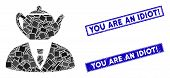 Mosaic Dummy Person Icon And Rectangle You Are An Idiot Exclamation Stamps. Flat Vector Dummy Person poster