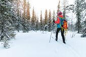 Ski Touring In The Deep Fresh Snow, Yllas, Lapland, Finland poster