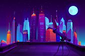 Astronomical Observations In Modern City Cartoon In Neon Colors. Telescope On Tripod, Standing On Ho poster