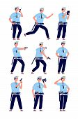 Policeman. American Cop Security Officer, Police Patrol In Uniform With Gun. Professional Guards Car poster