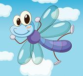 Illustration of a dragon fly flying -