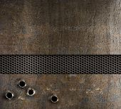 picture of gunshot  - bullet holes in metal background - JPG