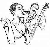 Постер, плакат: Иллюстрация афро американский джазовый певец с двойной бас гитарист
