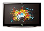 Modern Television screen with bright colour splat element