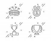 Sports Arena, Approved And Winner Podium Line Icons Set. Winner Sign. Event Stadium, Competition Res poster