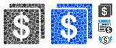Finance Mosaic Of Circle Elements In Different Sizes And Color Tinges, Based On Finance Icon. Vector poster