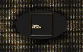 Black Paper Cut Background. Abstract Realistic Layered Papercut Decoration Textured With Golden Half poster