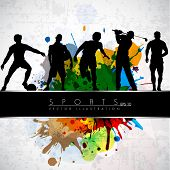 Silhouette of sports persons on colorful grungy background with text line. EPS 10.