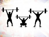 Sequence of weight lifting, silhouette of a weight lifter on grungy colorful background. EPS 10.