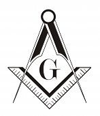 picture of freemason  - black and white freemason symbol illustration on white background - JPG