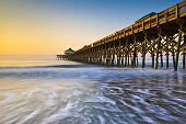 Folly Beach Pier Charleston Sc costa Atlántico Pastel Sunrise