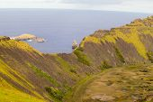 View Of The Crater Of Rano Kau In Easter Island. Easter Island, Chile poster