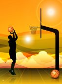 Silhouette of a basket ball player during practice, basket ball pillar and balls on beautiful abstract evening background. EPS 10