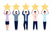 Rating Concept. Characters Holding Gold Five Stars For Positive Feedback Good Review Vector Flat Pic poster
