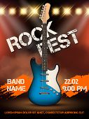 Rock Festival Invitation. Music Guitar Realistic Illustration Poster With Place For Your Text Event  poster