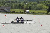 MOSCOW, RUSSIA - JUNE 9: Sweep rowing competition on pair boats during 51th International Grand Moscow Regatta in Moscow, Russia on June 9, 2012