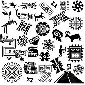 stock photo of jungle snake  - Vector of ancient american design elements on white - JPG