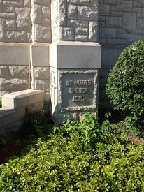 image of cornerstone  - A Catholic Church Cornerstone showing when it was built in the year 1925 - JPG