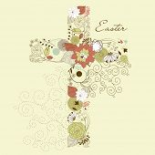 Beautiful cross made from flowers, Easter card