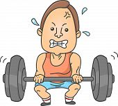 Illustration of a Man lifting up a heavy barbell for weightlifling