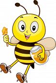pic of bee cartoon  - Mascot Illustration of a Bee holding a honey dipper and a jar of honey - JPG