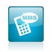 ícone brilhante do MMS web quadrado azul